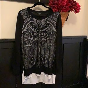 Simply Vera OX lace black sweater off white lining